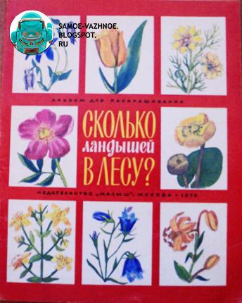 Раскраска СССР Сколько ландышей в лесу 1978 советская старая из детства красная обложка квадраты с цветами