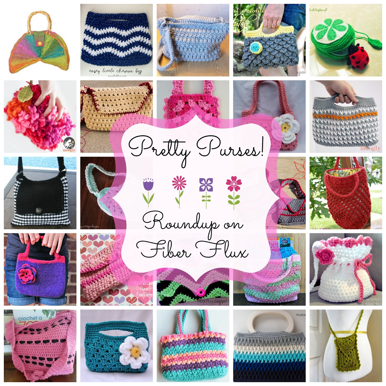 Fiber flux pretty purses 20 free crochet purse patterns i love purses and you can never have too many in my opinion here are some purses ive collected just for you from large bags for toting everything bankloansurffo Gallery