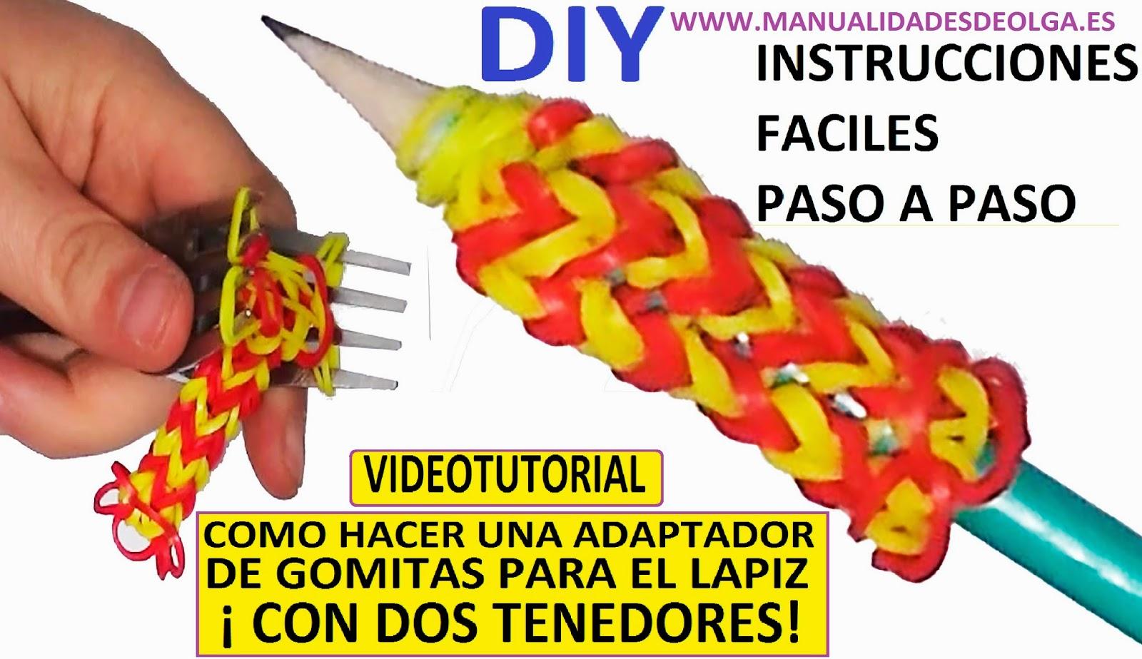 adaptador de gomitas para el lapiz sin rainbow loom , con telar casero dos tenedores