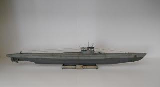 maqueta del submarino nazi de la II guerra mundial VII D minador