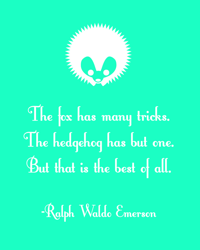 hedgehog printable, nursery decor, ralph waldo emerson quotes
