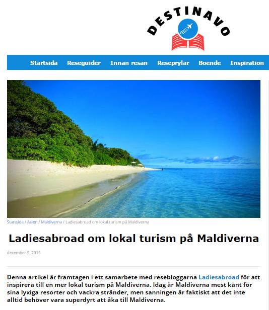Vi gästbloggar hos Destinavo om lokal turism på Maldiverna