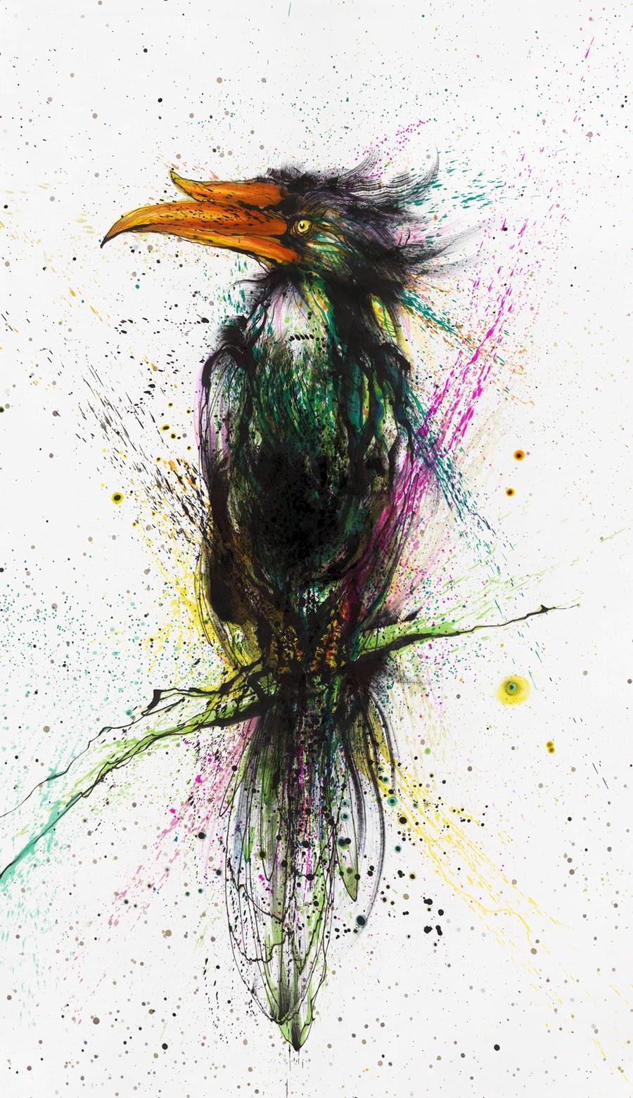15-Toucan-1-Hua-Tunan-huatunan-Melting-&-Running-Ink-Drawings-www-designstack-co