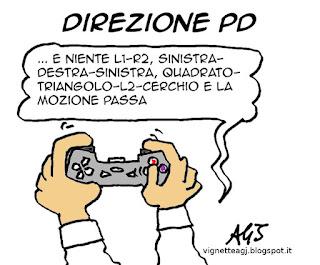 renzi, direzione PD, playstation, vignetta satira