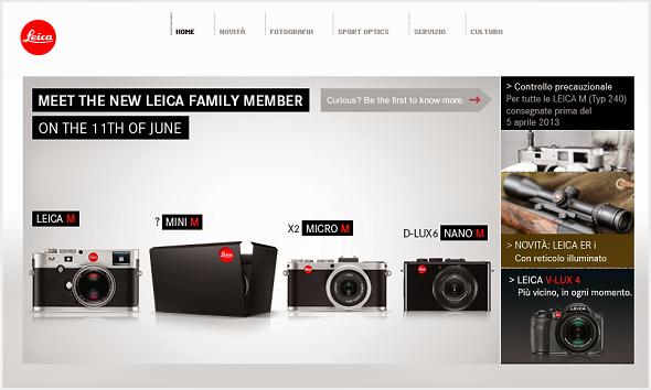 Home page del sito Leica