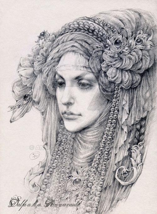 23-Veil-and-Pearls-Olga-Anwaraidd-Drawings-Fantasy-Portraits-Imaginary-Characters-www-designstack-co