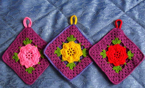 Вязание крючком прихватки с цветами 114