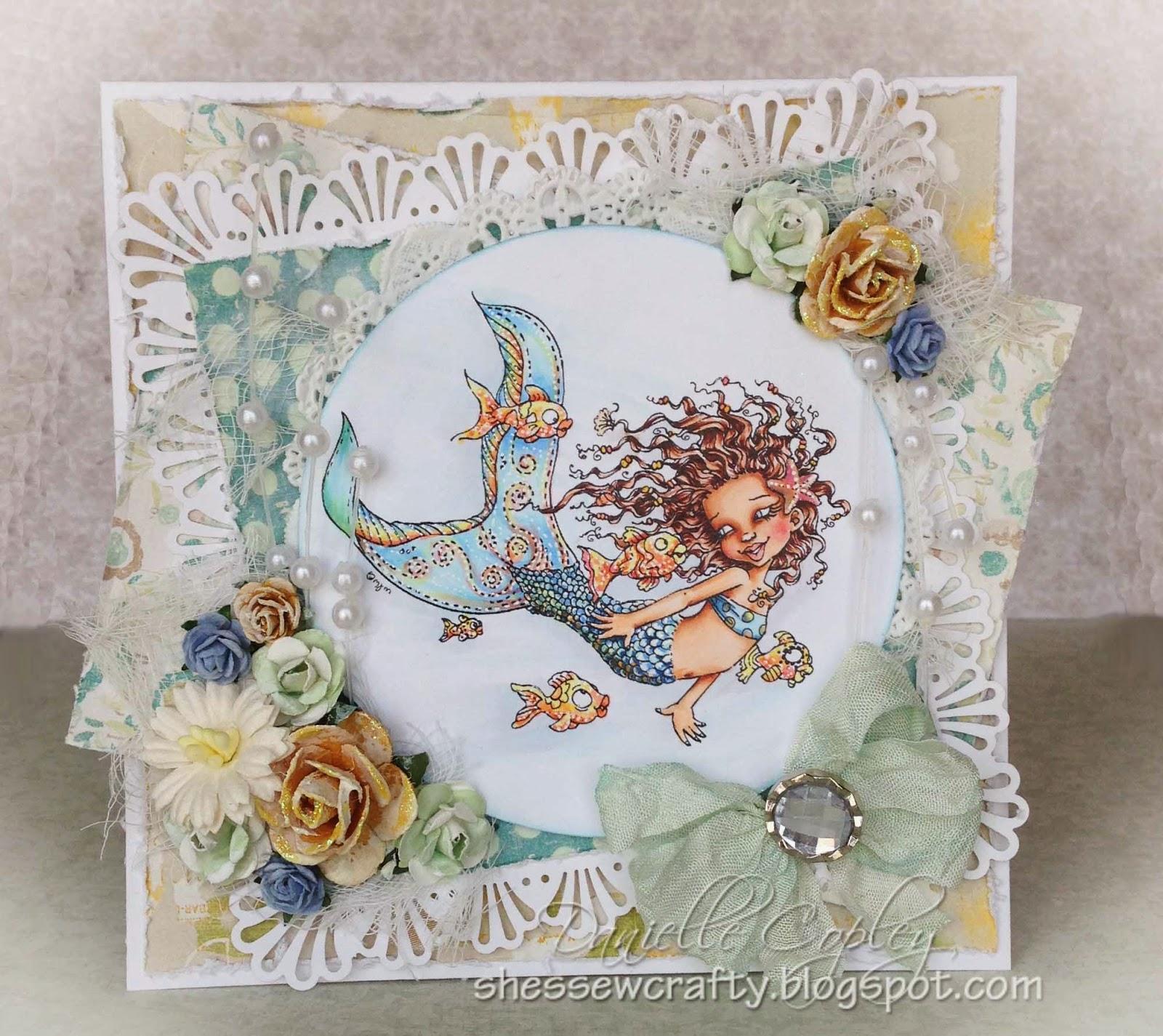 Tropical mermaid card using Prima and Mo's Digital Pencil Naunet digital image