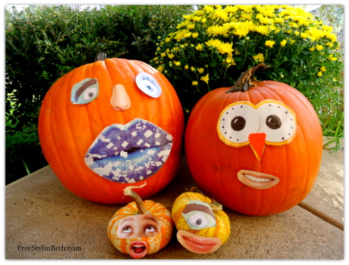 Pumpkin Faces To Carve http://www.bedifferentactnormal.com/2012/10/rearrangeable-pumpkin-faces-no-carve.html