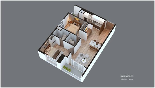 Mặt bằng căn hộ Imperia Garden CH06 66,1 m2