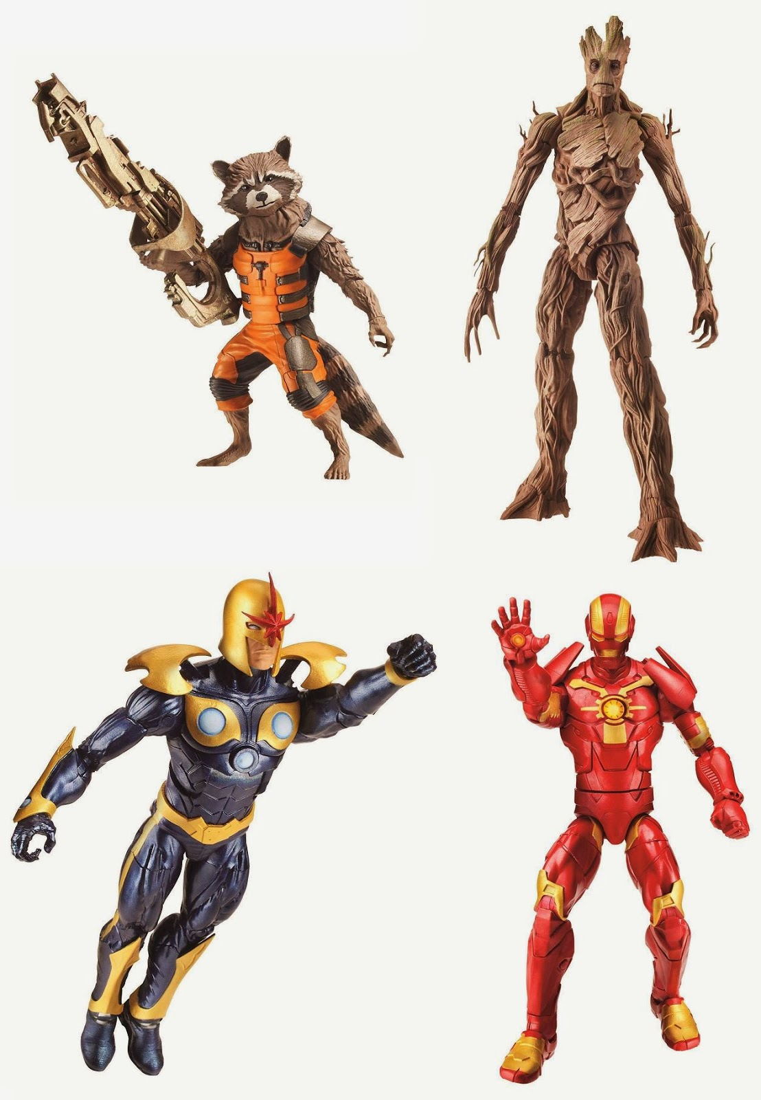 Guardians of the Galaxy Marvel Legends Infinite Series Action Figures - Rocket Raccoon, Groot, Nova & Iron Man