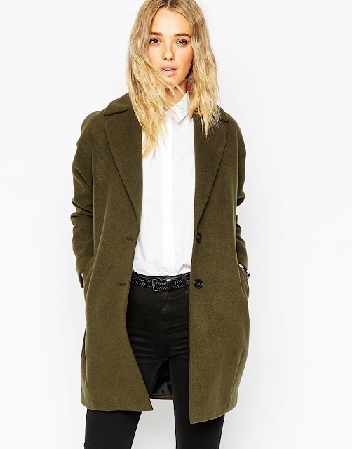 asos khaki coat, khaki cocoon coat, khaki winter coat,