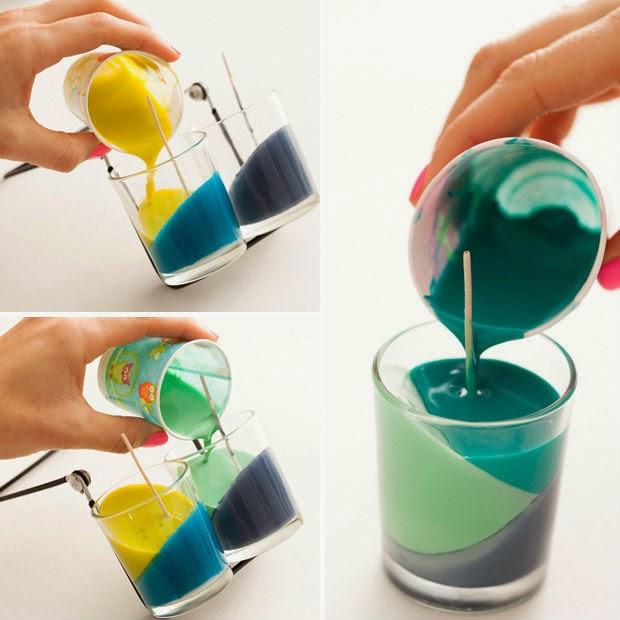 Artesanato com vela coloridas