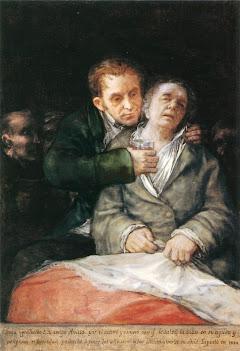 Goya enfermo, atendido por su médico, el Dr. Eugenio García Arrieta (1820)