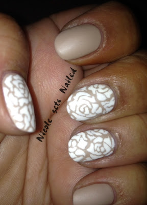 Matte White Roses on Nude Nail Art