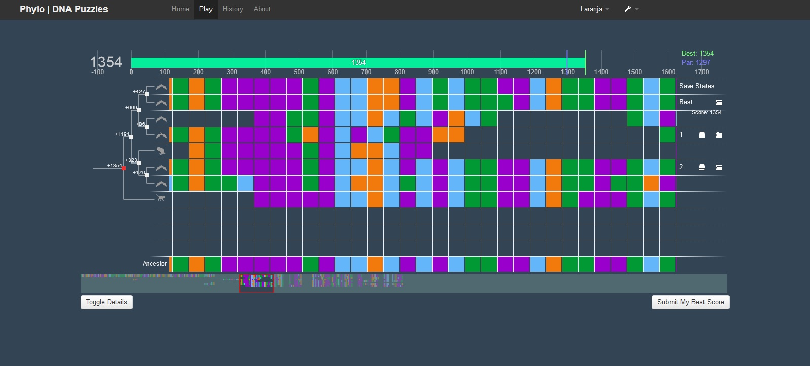 Phylo sequence alignment game
