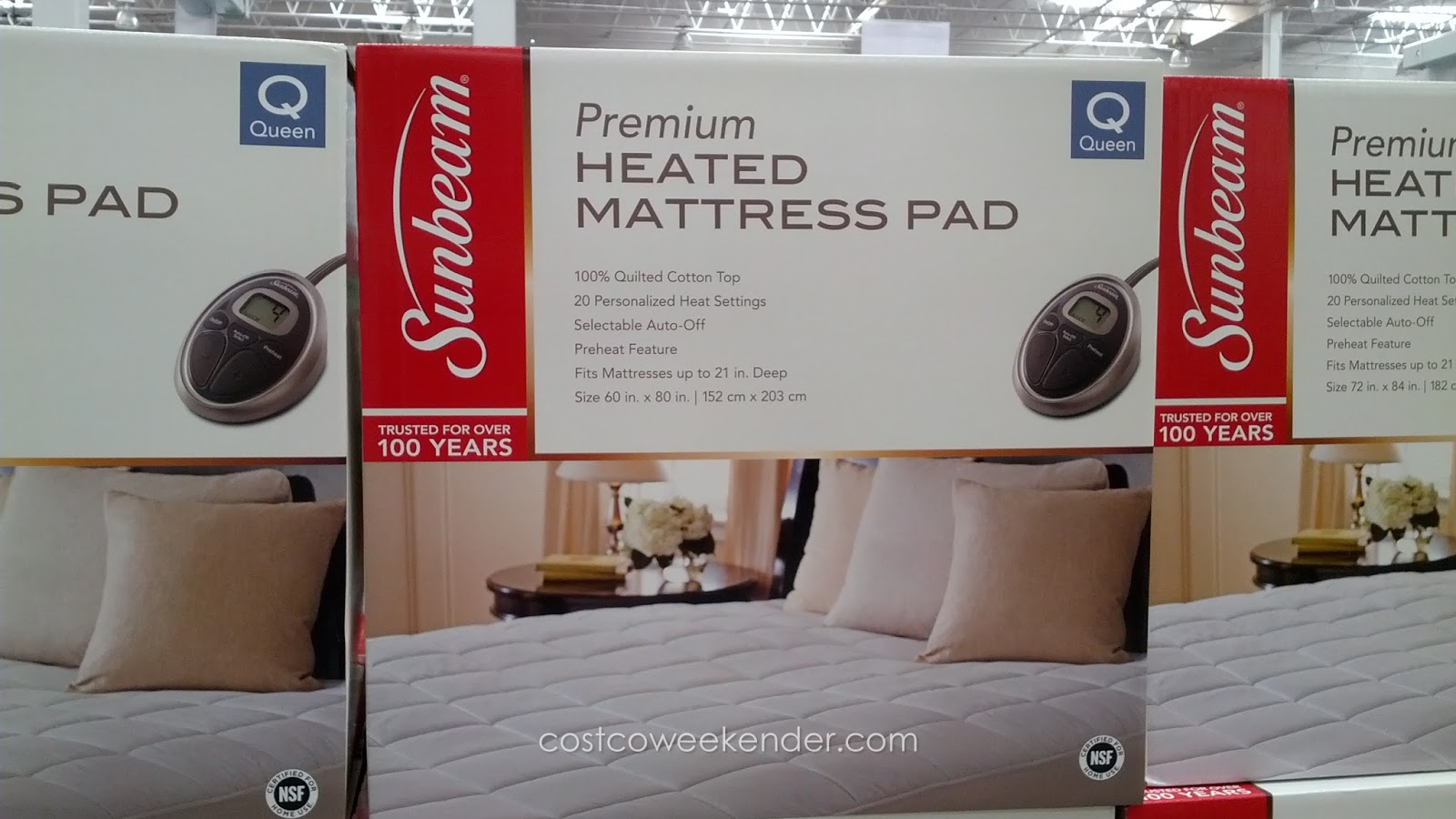 Stay warm and cozy with the Sunbeam Premium Heated Mattress Pad (queen)