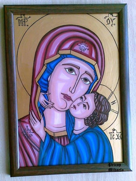 Icoana bizantina cu Maica Domnului si Pruncul Iisus - etapa finala