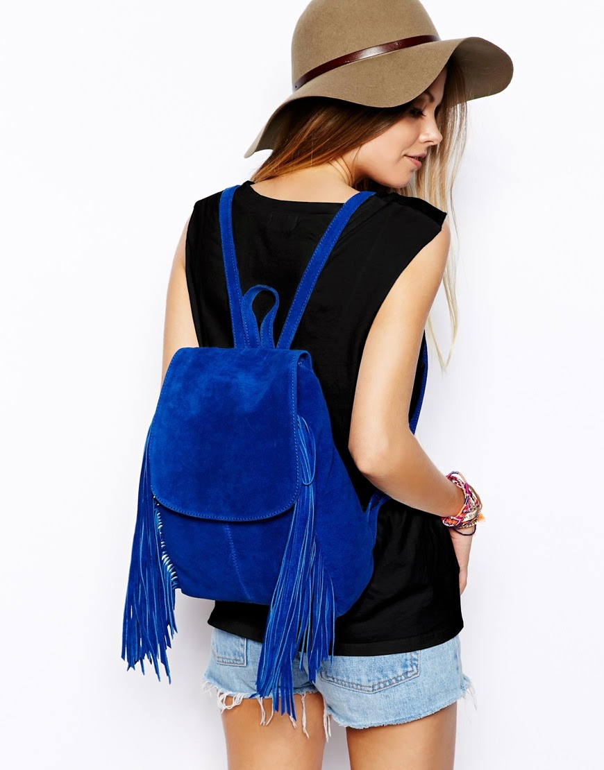 blue suede backpack