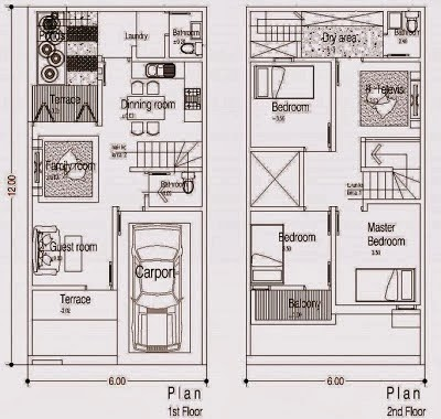 Denah Rumah Minimalis 2 Lantai Tanah 6x12 M2 Terbaru 2014