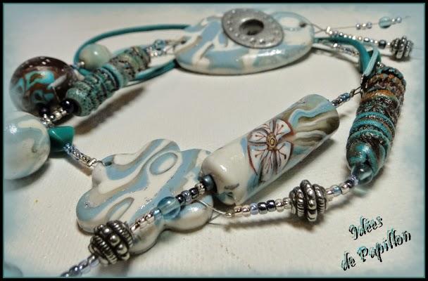 perles en fimo bleu