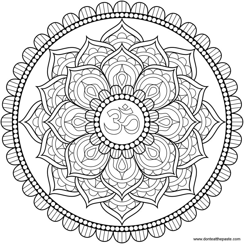 Don 39 t Eat the Paste Lotus Om Mandala to color