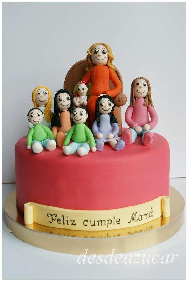 tarta fondant, tarta mamá, figuras modeladas, día de la madre, tarta dia de la madre, tarta fondant dia de la madre, tarta fondant Sevilla