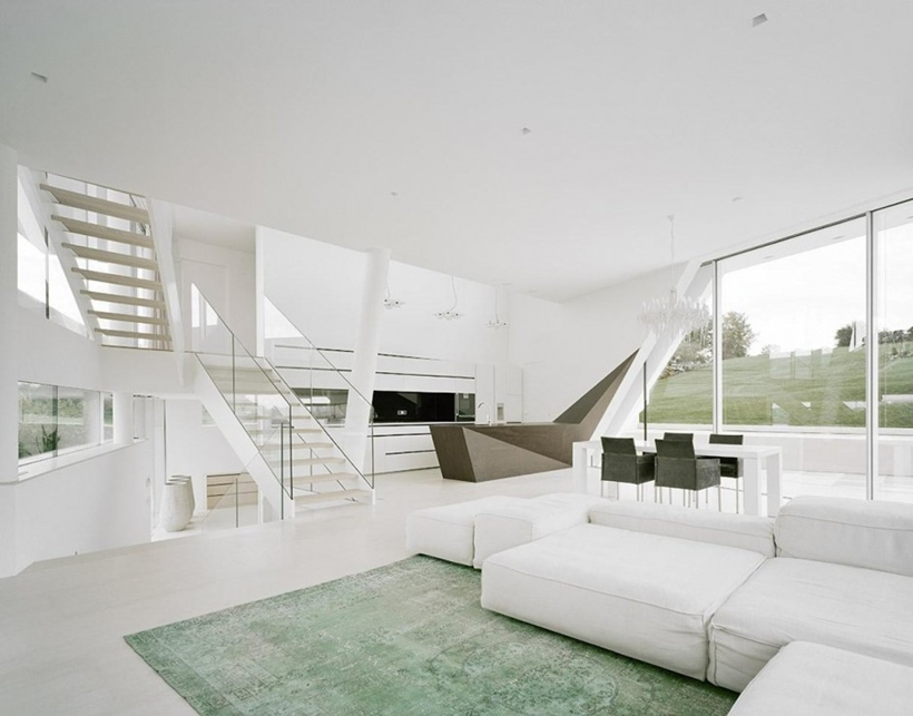 White interior of Villa Freundorf by Project A01 Architects