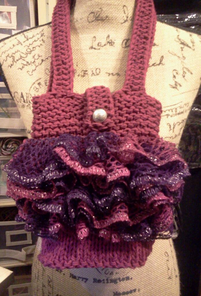 String Theory Fiber Works Tiny Tutu Tote Ruffle Loom Knit Purse