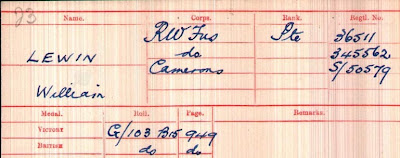 A pinky red pre-printed form with Lewin, William his Corps, Rank and Numbers noted in heavy blue ink.  See text below.