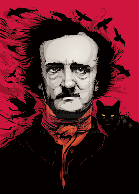 edgar allan poe with raven flying