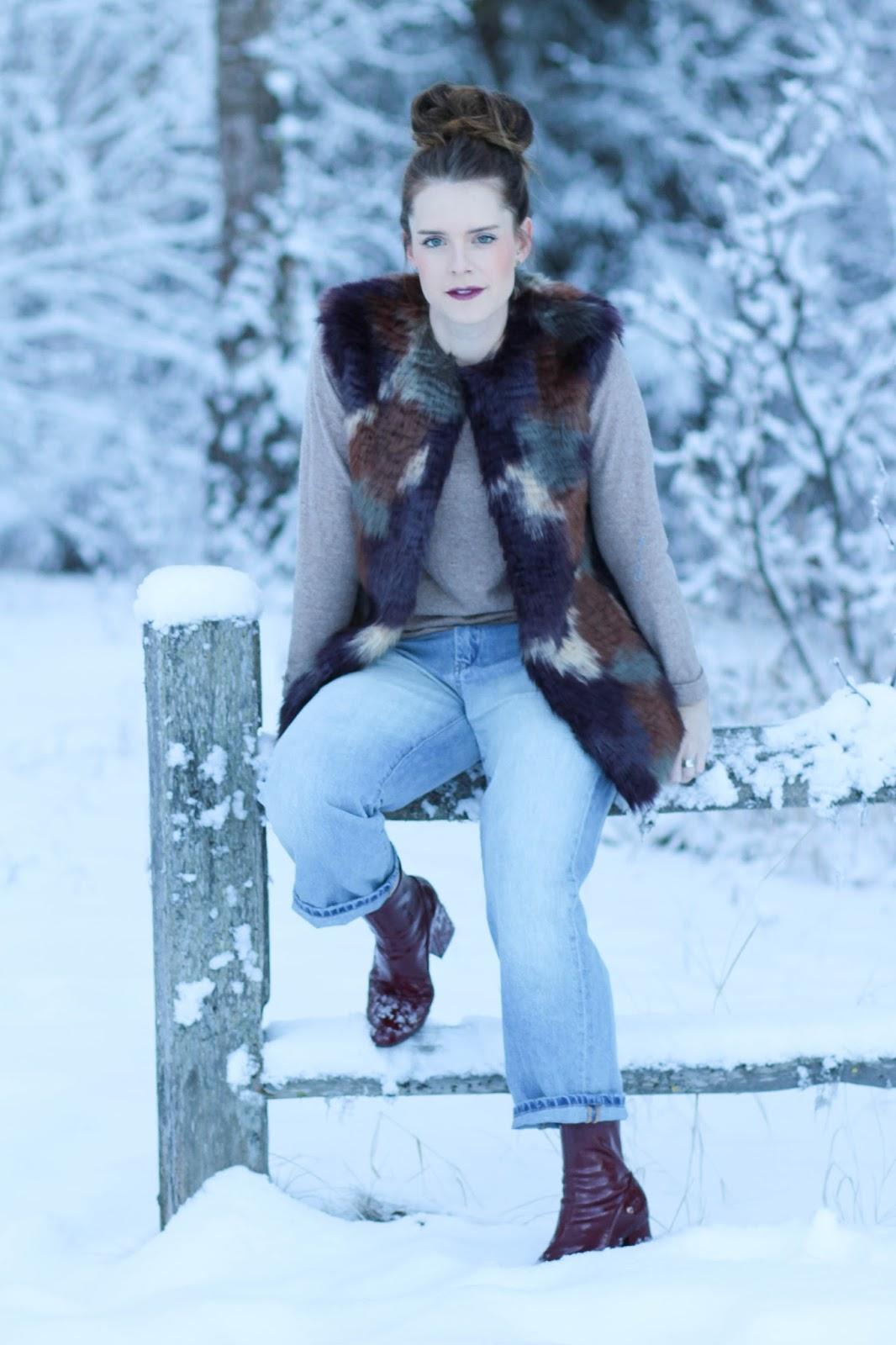 Winter outfit ideas- faux fur vests
