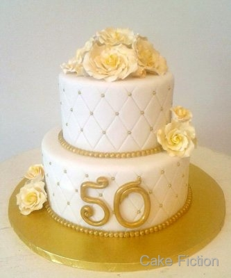 Cake Fiction Quilted Roses Golden Anniversary Cake