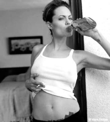 angelina jolie drinking whiskey