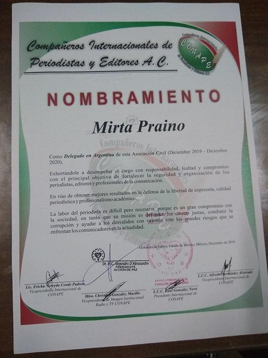 Delegada de CONAPE Argentina