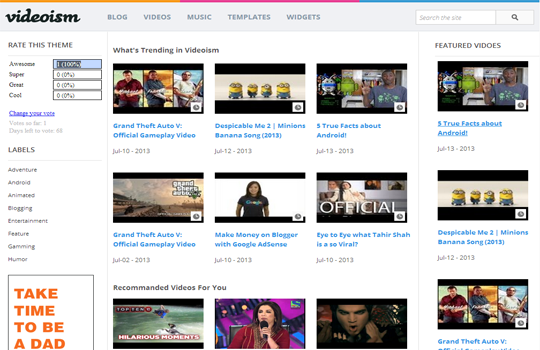 awesome themes videoism awesome free blogger template