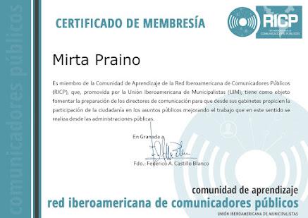 MIEMBRO de la Comunidad de Aprendizaje de la Red Iberoamericana de Comunicadores -RICP-