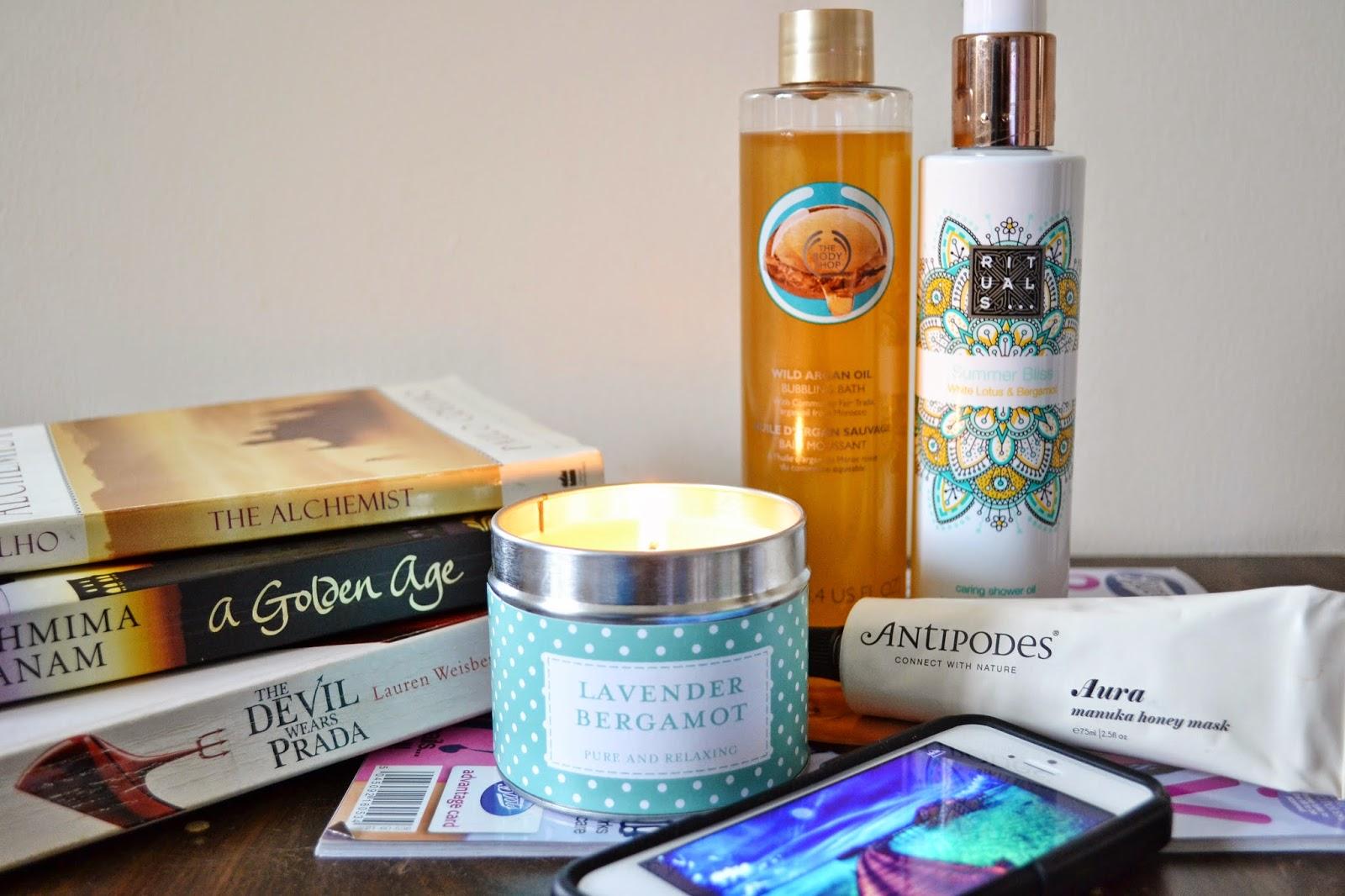 Relaxing Pamper Session ft The Body Shop Argan Oil Bubbling Bath, Rituals Summer Bliss Shower Oil, Antipodes Aura Manuka Honey Mask - Aspiring Londoner