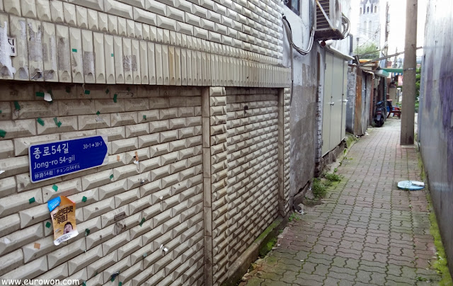 Dirección de un callejón de Seúl sin nombre