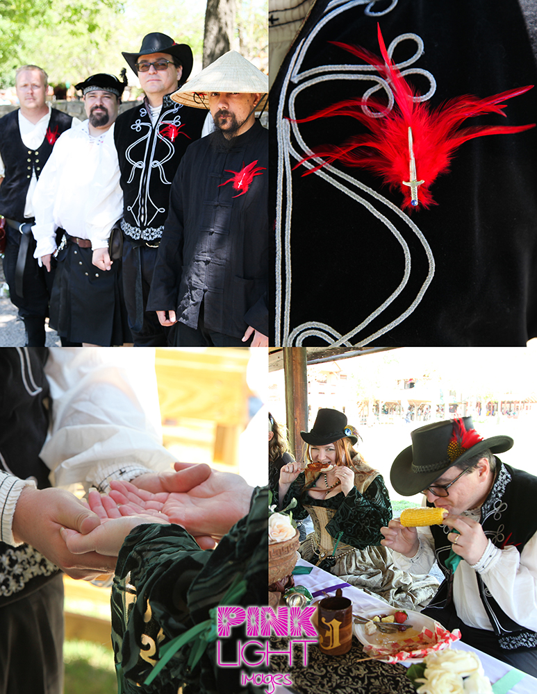 Scarborough Renaissance Festival wedding with fun details, red feathers and swords and good food