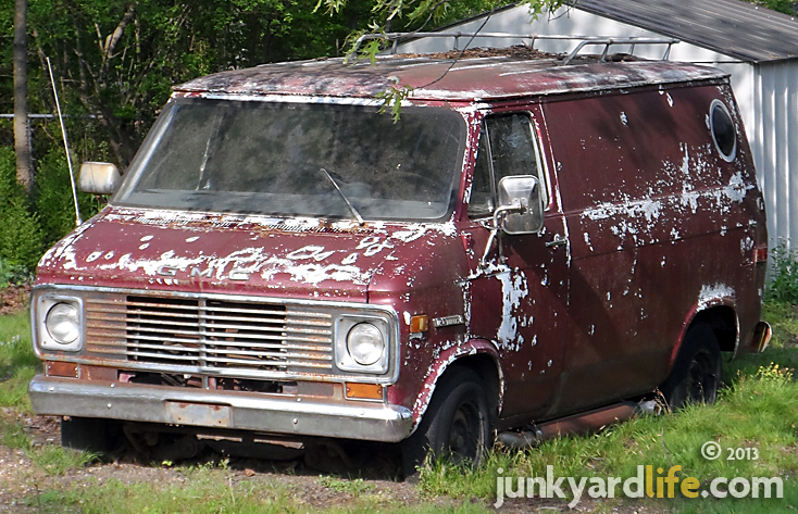 This groovy 1974 GMC Vandura van has been parked in a yard for more than 15 years.