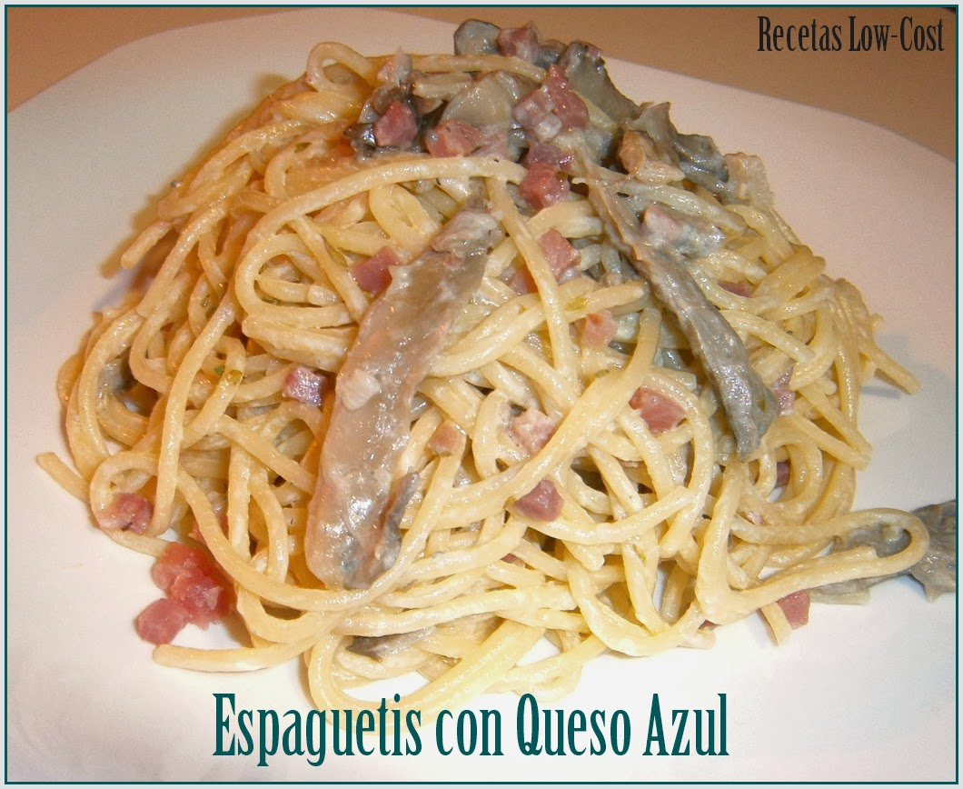Espaguetis con Queso Azul.