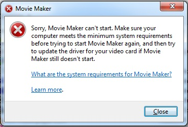 Movie maker error c945000e