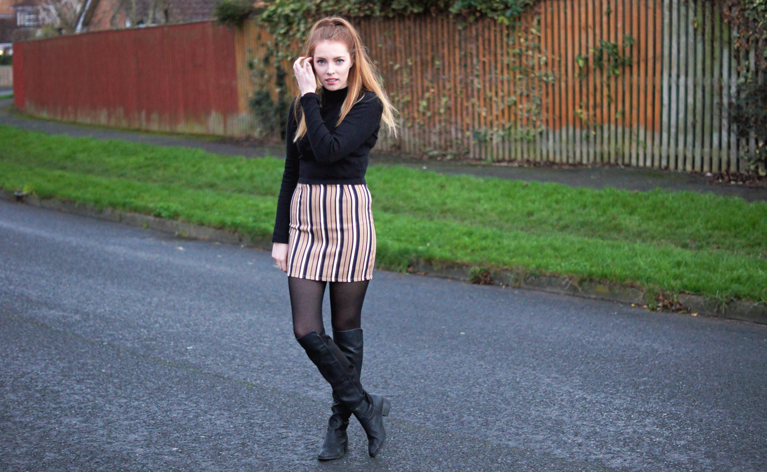 black over the knee boots new look