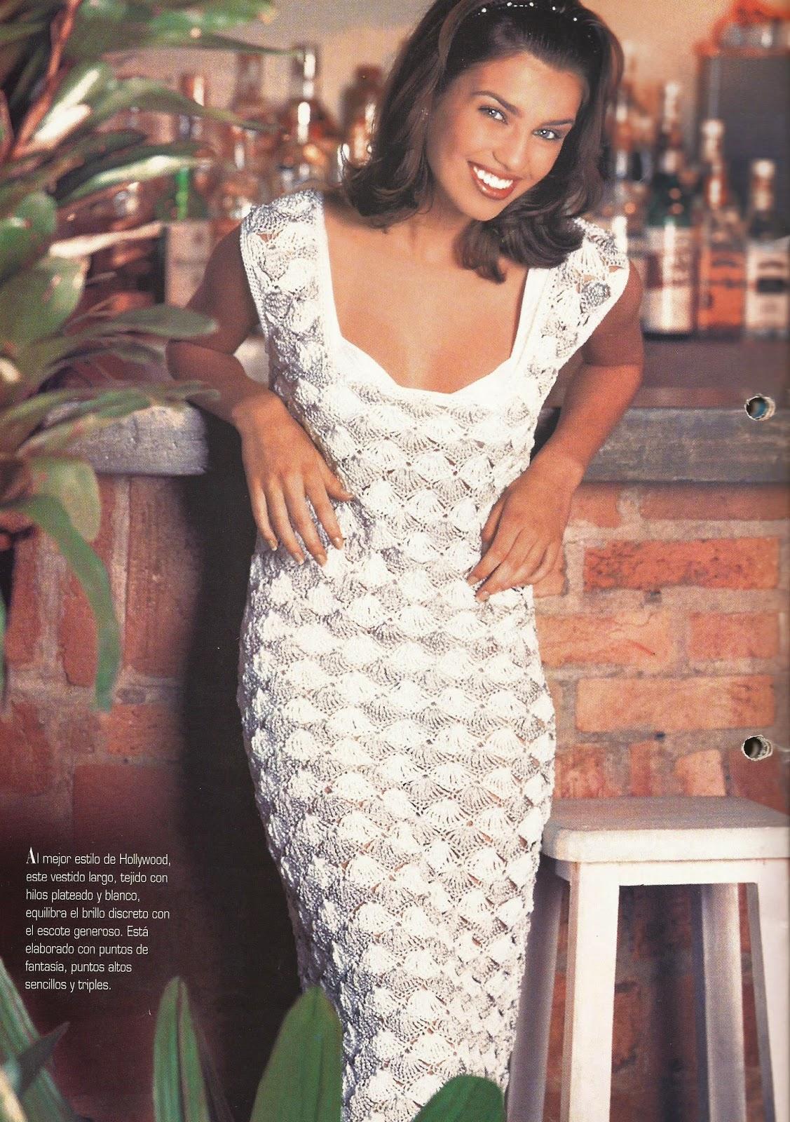 Vestido Plateado y Blanco a Crochet