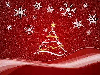Árbol de navidad y copos de nieve