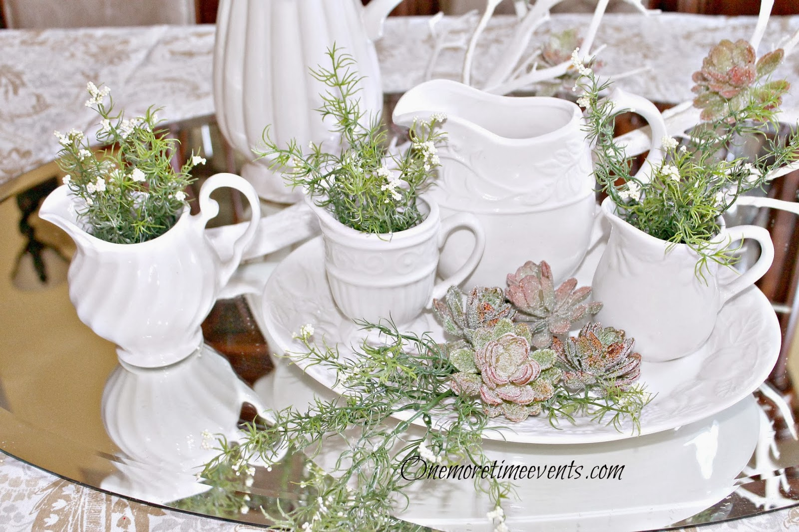 Mixing Whites and greens tablescape at One More Time Events.com