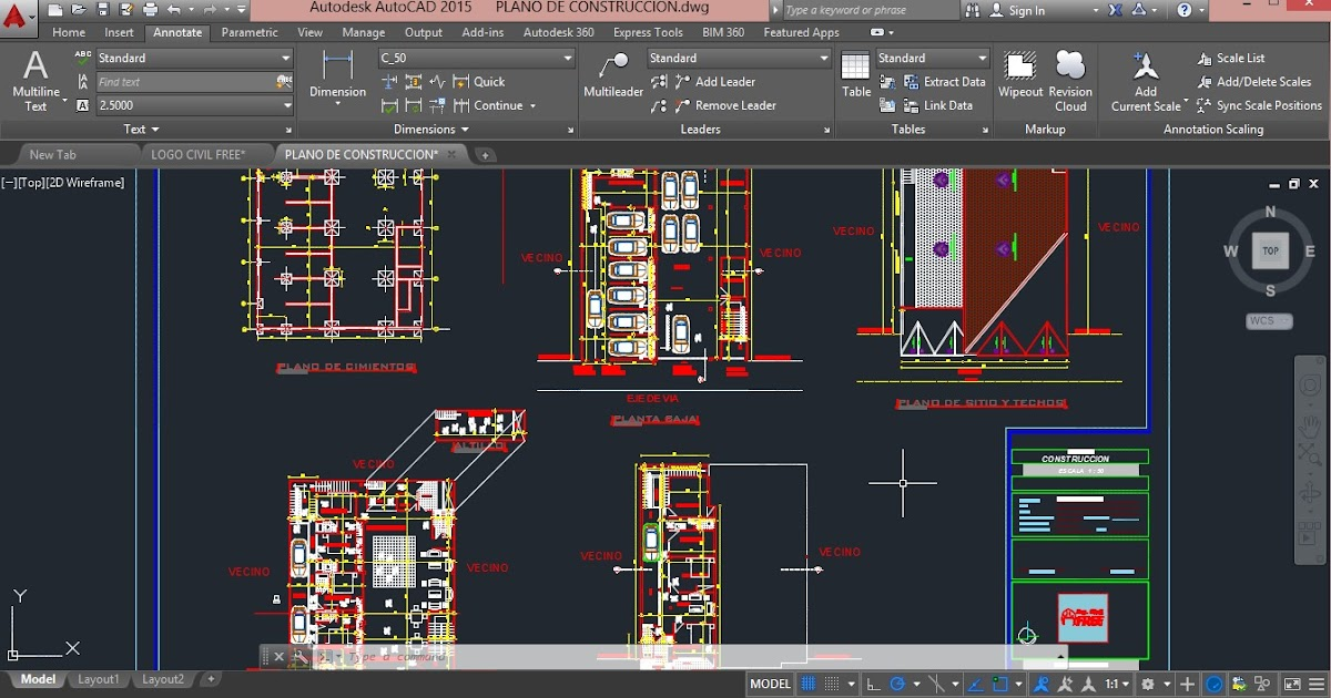 Descarga plano de construccion en dwg gratis for Planos ingenieria civil