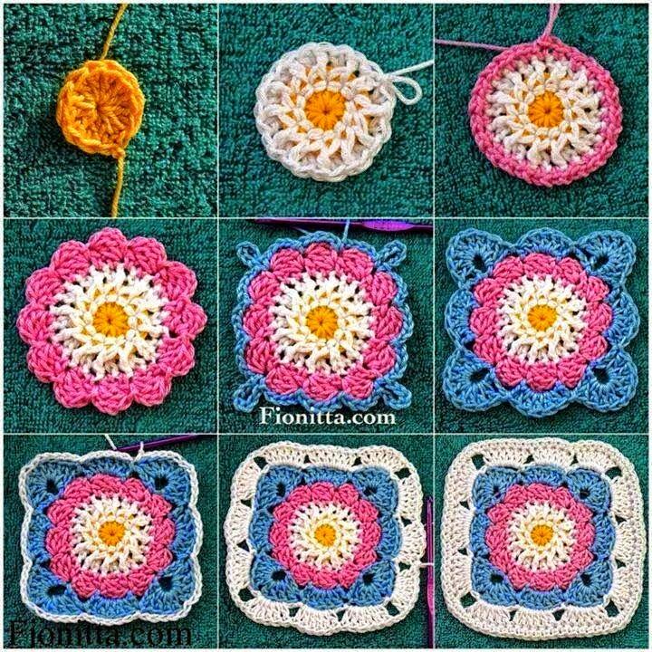 Grannys cuadados de cinco colores tejido al crochet - con paso a paso en fotos