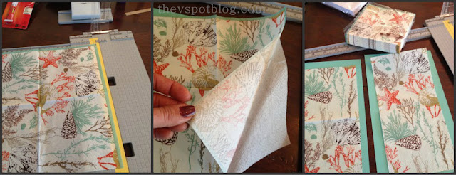 Easy DIY invitations using printed tissue paper napkins and mod podge.